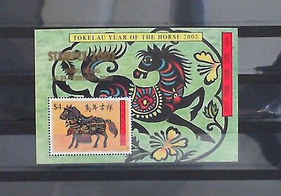 Tokelau 2002 Year of the Horse STAMPEX ovpt M/S MNH SGMS335