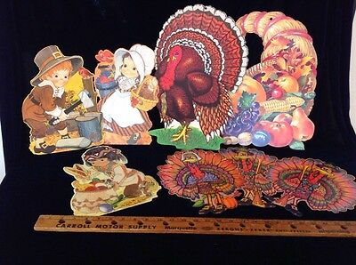 Vintage Die Cut Paper Decoration Thanksgiving Turkey Pilgrims Cornucopia 1970's