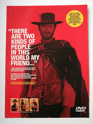 Clint Eastwood - Good the bad and the ugly - ORIGINAL dvd POSTER ADVERT EPHEMERA