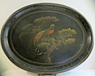 """Antique Hand Painted Bird Of Paradise Heavy Tole Tray 26"""" x 21"""" Huge! Beautiful!"""