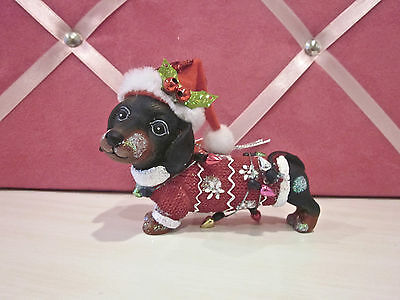 DACHSHUND DOG IN SANTA HAT, SWEATER & CHRISTMAS LIGHTS ORNAMENT New w/ Tag