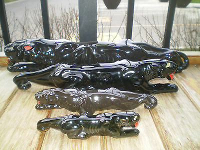 Vintage Ceramic Black Panthers on the Prowl ~ Family of Four ~Retro Collectibles