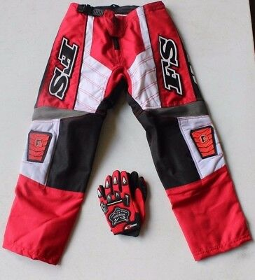 MX MOTOCROSS KIDS PANTS RED FREE FREIGHT FREE GLOVES( size  28 only)