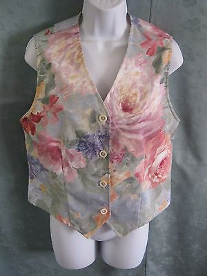 Vintage Joan Walters Floral Print Vest Size Small Waistcoat