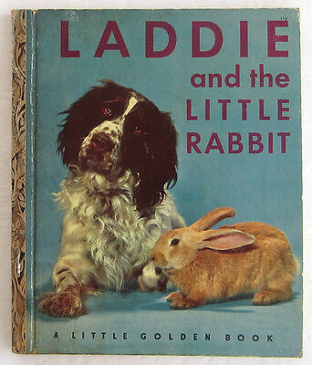 Vintage Children's Little Golden Book LADDIE and the Little Rabbit 1st Edition