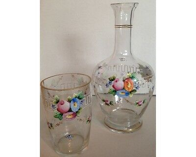 Antique Floral Enamel Czech Bohemian Tumble Up Water Decanter & Glass
