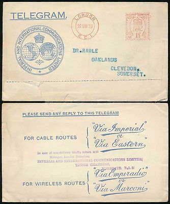 GB TELEGRAM ENVELOPE 1933 METER FRANKING IMPERIAL to RAWLE in CLEVEDON