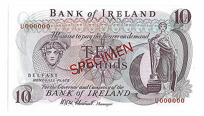 Bank of Ireland Chestnutt £10 specimen U000000 bank note aUNC