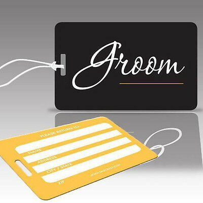 TagCrazy Wedding Luggage Tags, Groom, Durable Plastic Loops-3 Pk
