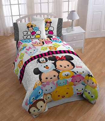 "Disney Tsum Tsum ""Faces"" Soft 3 Piece Sheet Set For Twin Sized Bed Free Shipping"