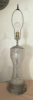 antique ornate cut crystal silver plated bronze ornate electric table lamp light
