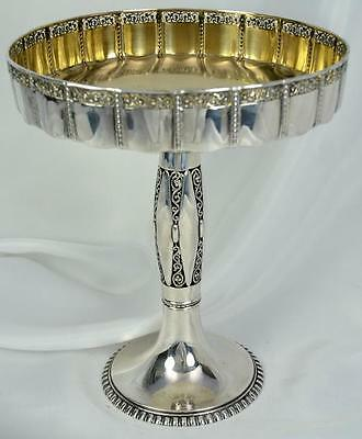 Antique German 800 Silver Gilt Pierced Compote Nuremberg