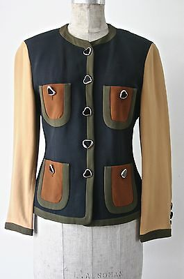 MOSCHINO COUTURE  Vintage Jacket, Coat, Shirt, Top, Blouse, Navy, Hearts Size 38