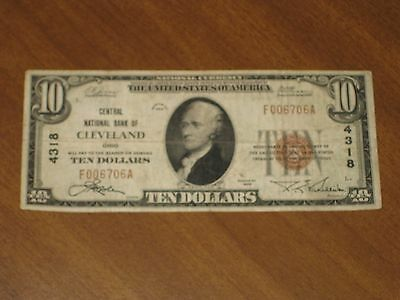 1929 Type 1 $10 National Bank Note - Central NB Cleveland Ohio #4318