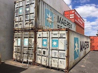 40ft Std. Shipping Container. 'As Is' Condition. Grey. Easy Repair.