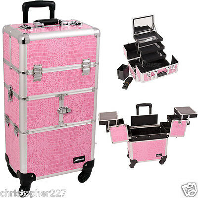 Trolley Organizer Case Cosmetic Makeup Artist Portable Professional Pink Croc