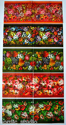 10 EASTER EGG WRAPS THERMO SLEEVES, Russian Folk Art ZHOSTOVO Flowers