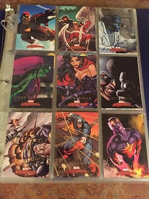 2008 Marvel Masterpieces Series 2  Base 90 Card Set & 5 Card Oversized Print Set