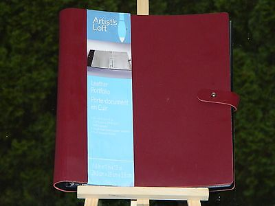 Artist Leather 3 Ring Binder Portfolio w/ 21 Acid Free Paper Sheet Protectors