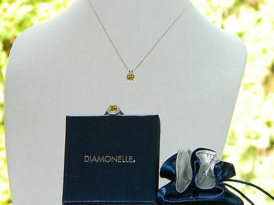 "New Sterling Silver Citrine Ring & Pendant Set by ""Diamonelle"" - Better Than CZ"