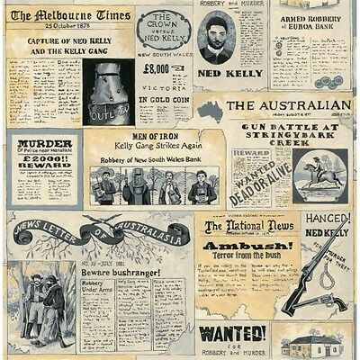 NED KELLY & THE GANG ~ Wanted Posters ~ Newspaper  ~ Fabric~ per 1/2 yd