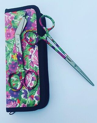 NEW Hemostats Forceps Bandage Scissors  Hawaiian Flower Print Tip Clamps Set