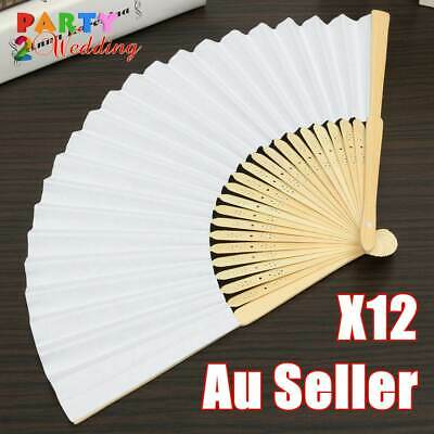 12x White Paper Bamboo Hand Fan Wedding Party Dance Gift Signature Bulk Lot