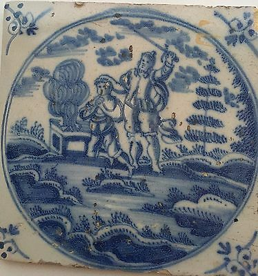 Delft 1700s Tile Biblical Antiques Judaica Art Israeli Sacrifice of Isaac Jewish