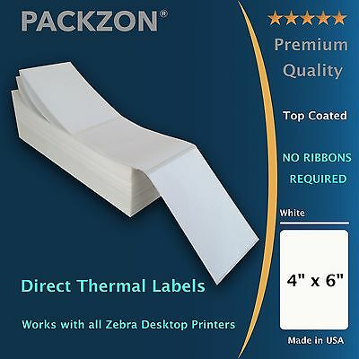 PACKZON® 2000 4x6 Fanfold Direct Thermal Shipping Labels W/ Top coating