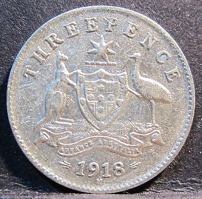 1918 M Australia 3d Threepence #3018 * =HIGH GRADE=