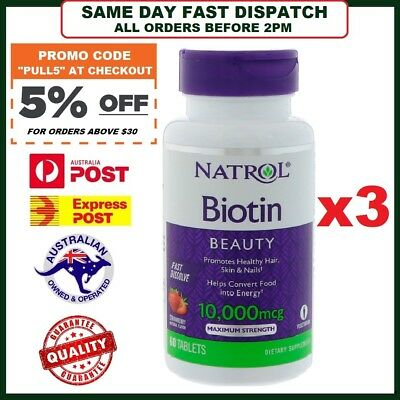 THREE BOTTLES: Natrol Biotin MAXIMUM STRENGTH 10000 mcg 300 Tablets VALUE PACK