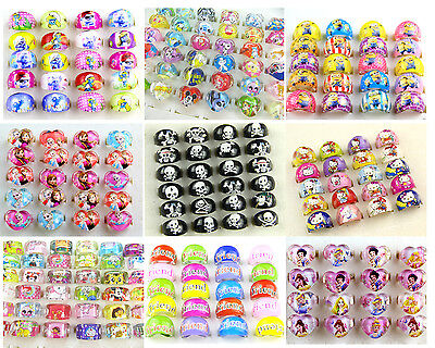 20PCS mixed cartoon resin rings kids children gift party bag fillers 16 style