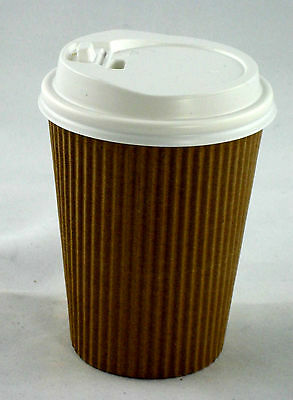 50 x 14 oz 400 ml Triple Ripple Wall Kraft Paper Coffee Cups + Lids Takeaway