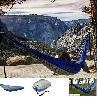 Double Person Outdoor Parachute Nylon Fabric Hammock Travel Camping Sleeping Bed