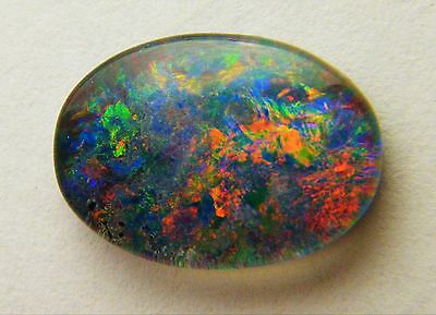 Natural Australian Opal Triplet 14mm x 10mm Oval Loose Stone Red/Blue/Green