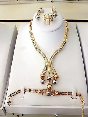 2 tones Beautiful Gold Plated Costume Bridal Fashion Party Necklace Set
