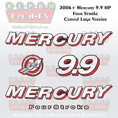 2006+ Mercury 9.9 HP CRV Curved Logo FourStroke Outboard Repro 5 Piece Decals 4S