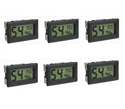 6x Digital Meter Temperature Humidity Thermometer Hygrometer Vivarium Reptile BK