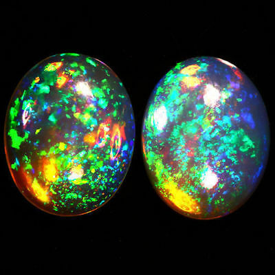 10x8 MM OVAL TOP SUPER RAINBOW ELECTRIC ETHIOPIAN FIRE WELO OPAL PAIR BEST PRICE
