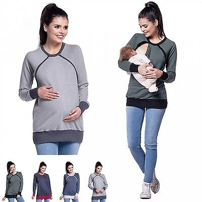 Zeta Ville - Women's breastfeeding top sweatshirt crew neck nursing panel - 344c