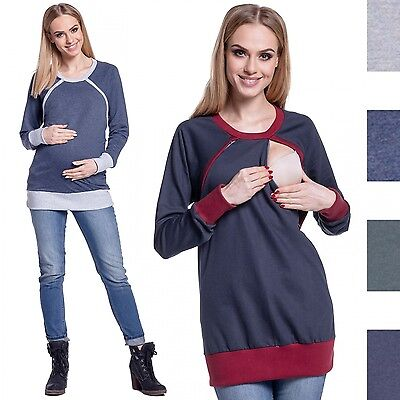 Happy Mama. Women's Sweatshirt Breastfeeding Top Contrast Detail Maternity. 344p