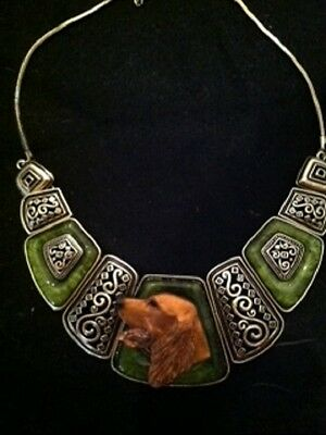 Irish Setter  Green and brass square collar necklace~handpainted ~OOAK