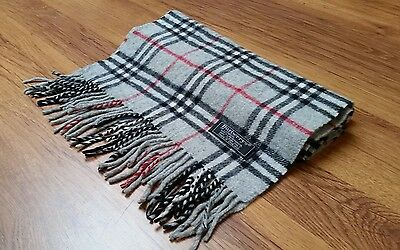 Authentic Vintage Burberry Scarf Grey Nova Check 100% Lambswool BW