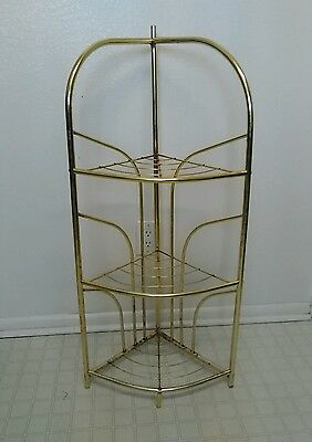 3 tier metal corner shelf plant stand brass colored