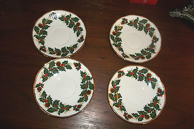 QUEENS ROSINA Yuletide 4 Saucers Fine Bone China Christmas Holly Pine England
