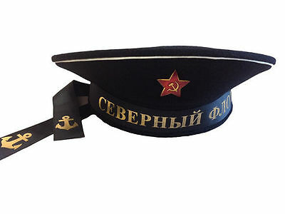 USSR Sailor cap, Soviet union WWII Russian Northern Fleet hat, Insignia Badge