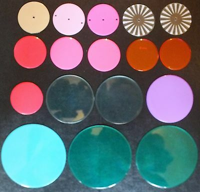 ELLO LARGE AND MEDIUM SIZE CIRCULAR PANELS x 17. MIXED COLOURS.  UK DISPATCH