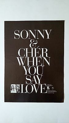 "Sonny & Cher   (When You Say Love""  Rare Original Print Promo Poster Ad"