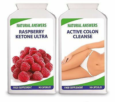 Raspberry Ketone Ultra + Active Colon Cleanse Quality Diet Pills 180 Capsules