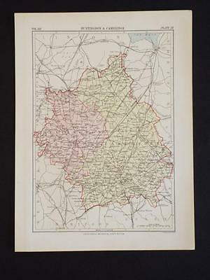 VINTAGE MAP of HUNTINGDON & CAMBRIGE,COUNTY,ENGLAND - ANTIQUE COLOUR PRINT c1910